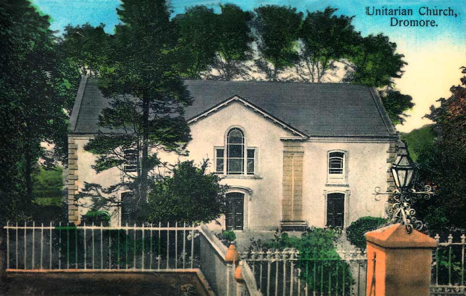 An old photograph of Dromore Non-Subscribing Presbyterian Church
