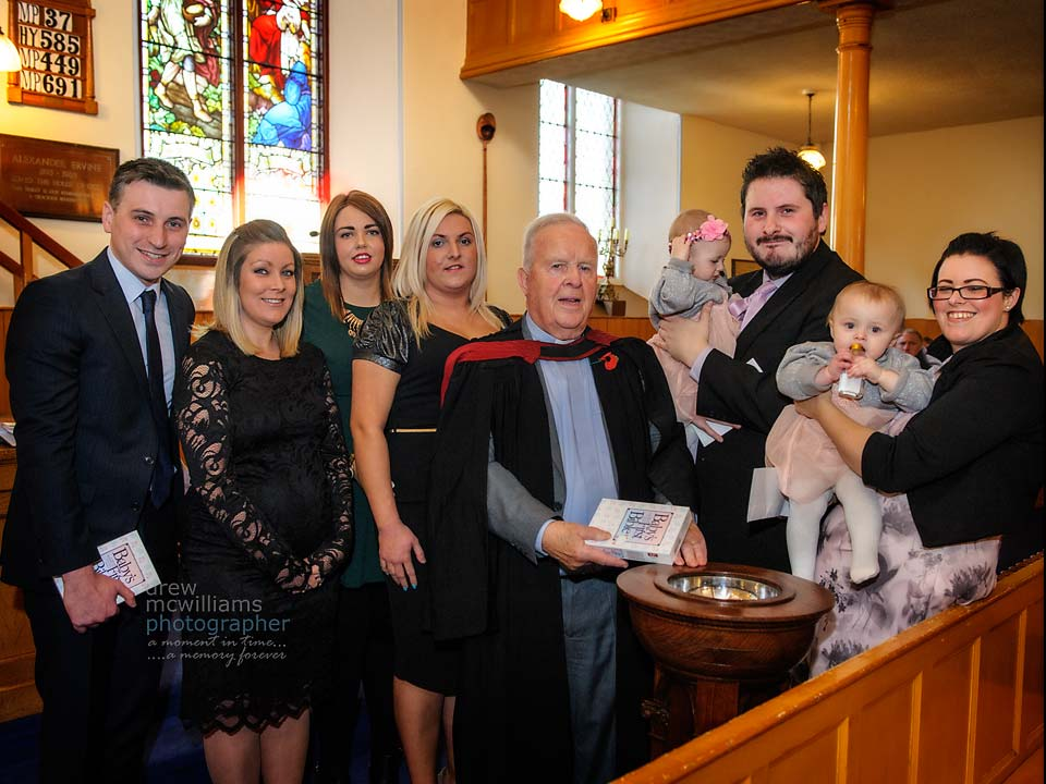 Baptism of twin girls at Dromore Non'Subscribing Presbyterian Church