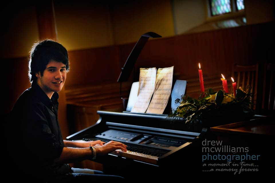Gareth Greenfield at the piano in Dromore Non-Subscribing Presbyterian Church