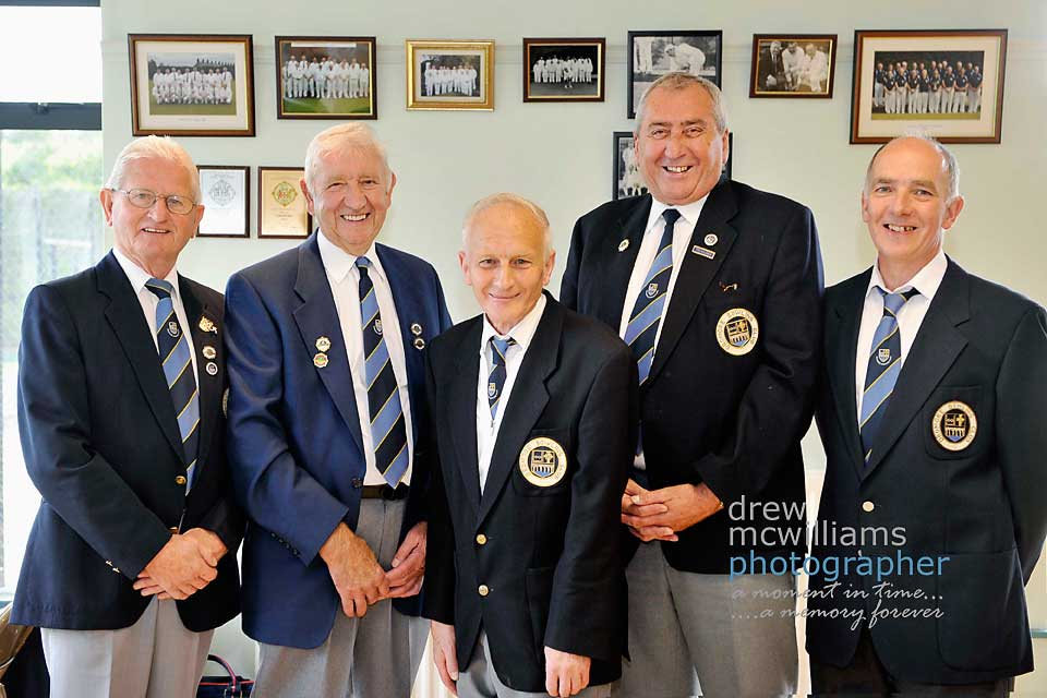Founding members of Dromore Bowling Club which is celebrating its 25th anniversary are Sammy Malcolmson, Joe Elliott, Norman Lindsay, Kenneth Aiken and SG Malcolmson.