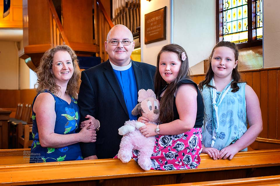 Rev Tom Wilson from Glasgow and his family at Dromore Non-Subscribing Presbyterian Church