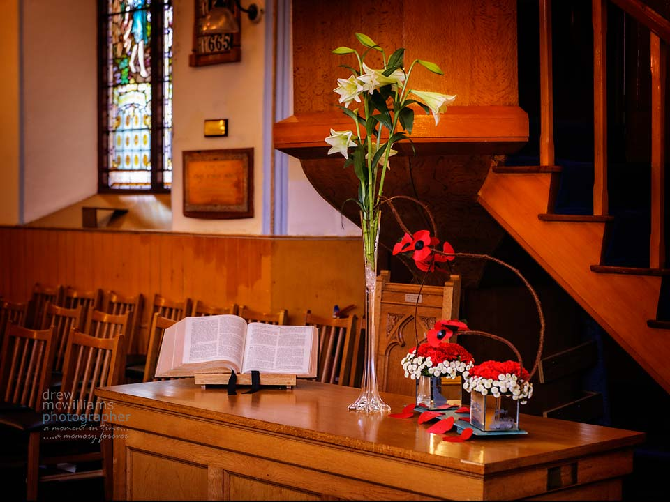 Flower arrangement at Dromore Non-Subscribing Presbyterian Church for Remembrance Sunday