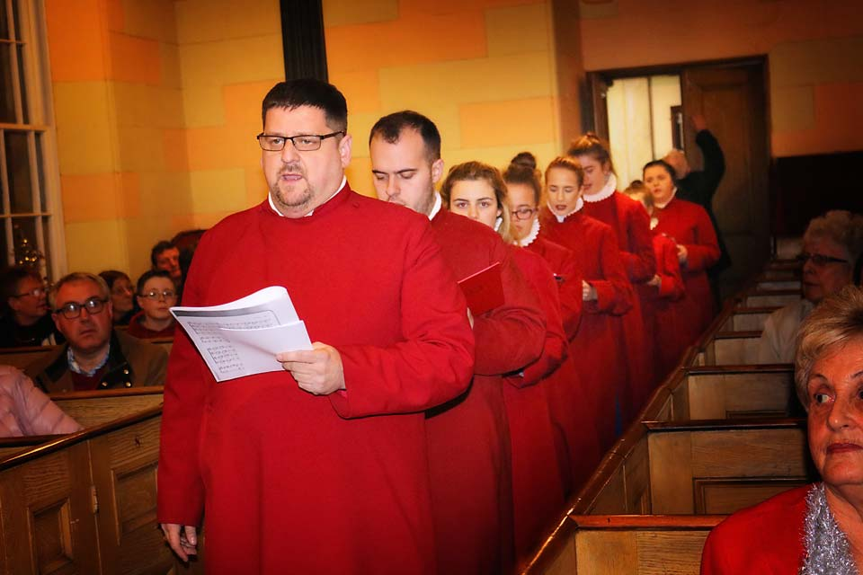 The Choir of St Anne's Cathedral processes into Banbridge Non-Subscribing Presbyterian Church for the 300th anniversary concert