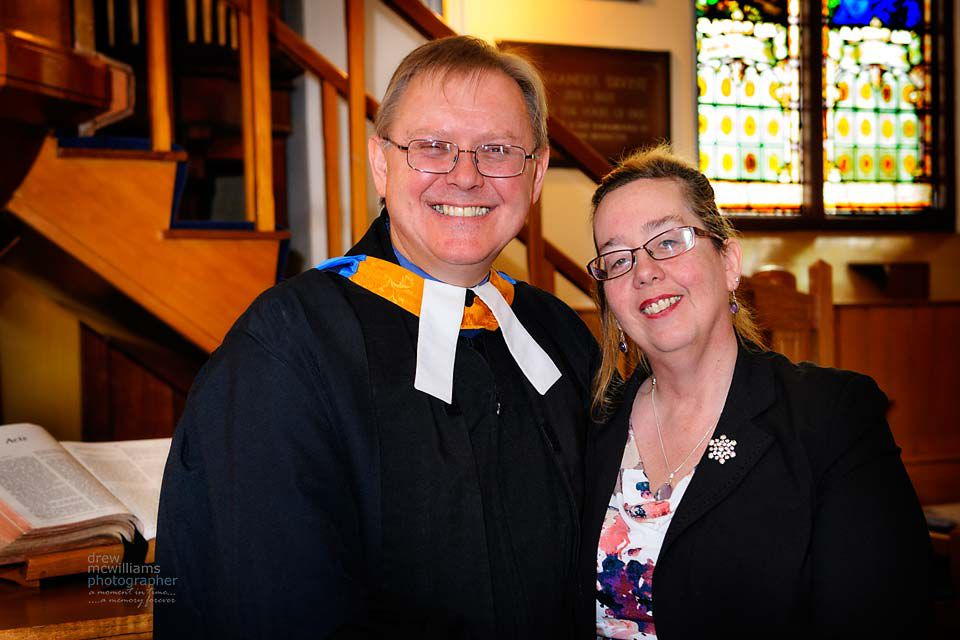 Rev Chris and Mrs Sandra Wilson at Dromore NSP Church, Co Down