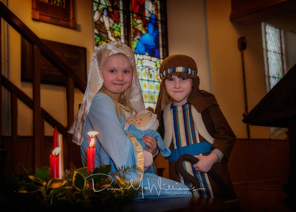 Mary and Joseph at Dromore Non-Subscribing Presbyterian Church Sunday School Christmas Service