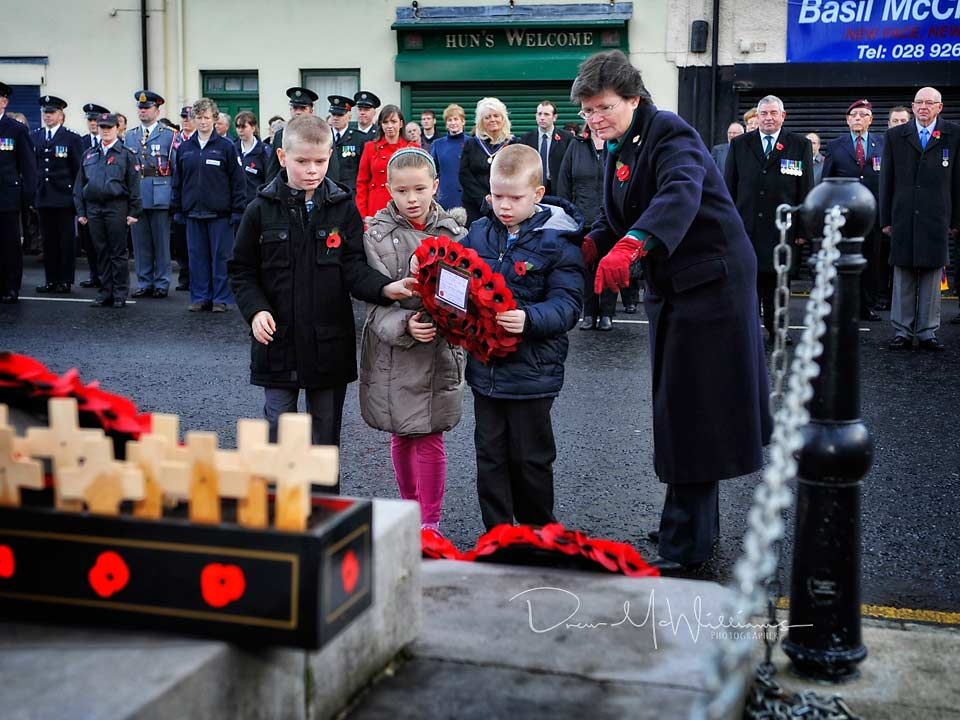 Remembrance Day service and poppy laying at Dromore, Co Down
