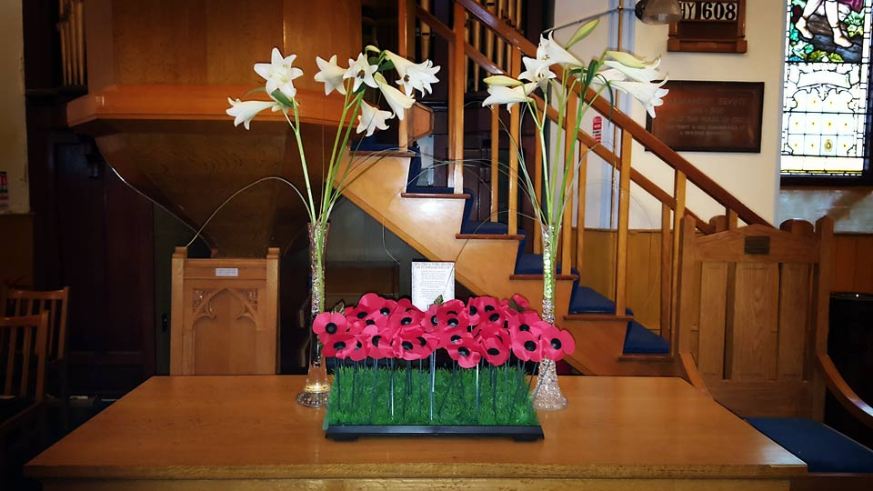 Remembrance flower display at Dromore Non-Subscribing Presbyterian Church