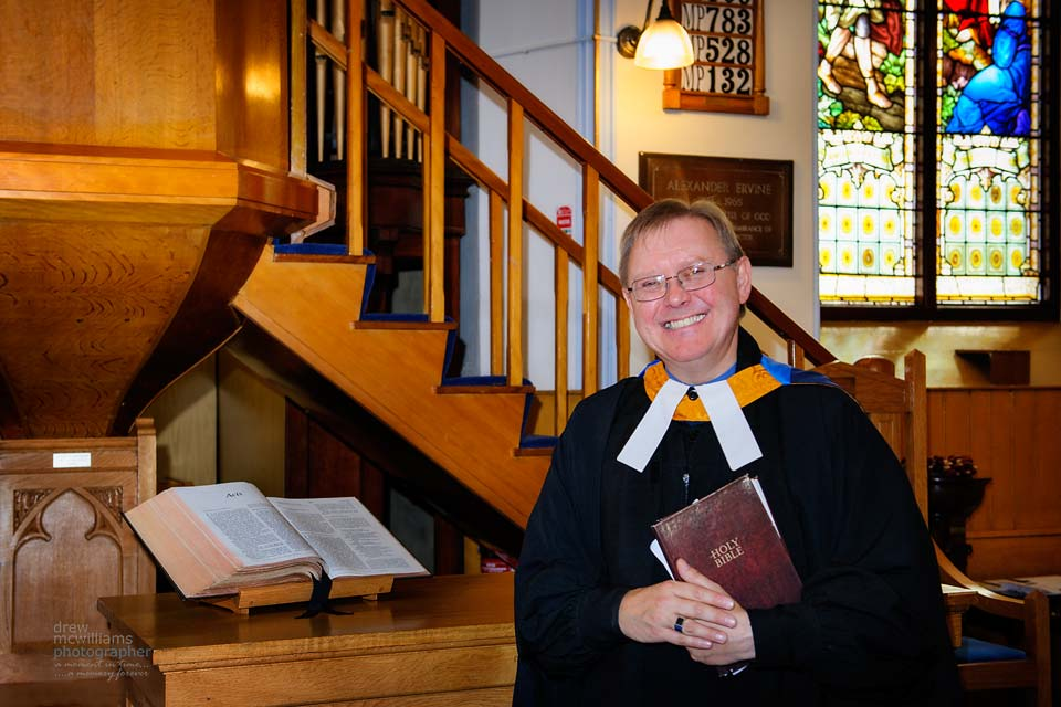 photograph of Rev Chris Wilson at Dromore Non'-Subscribing Presbyterian Church