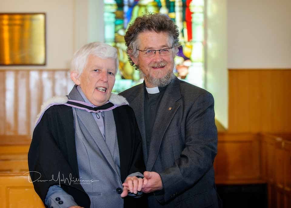 Rev Lena and Rev Brian Cockcroft photographed at Dromore Non-Subscribing Presbyterian Church