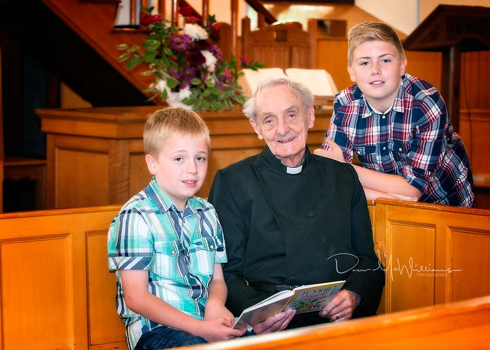 Rev William McMillan talks to Sunday School children at Dromore NSP Church