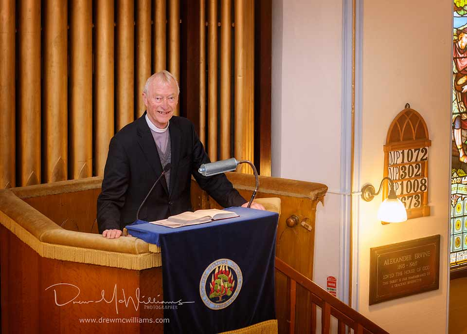 Rev Dr Will Patterson in the pulpit at Dromore NSP Church