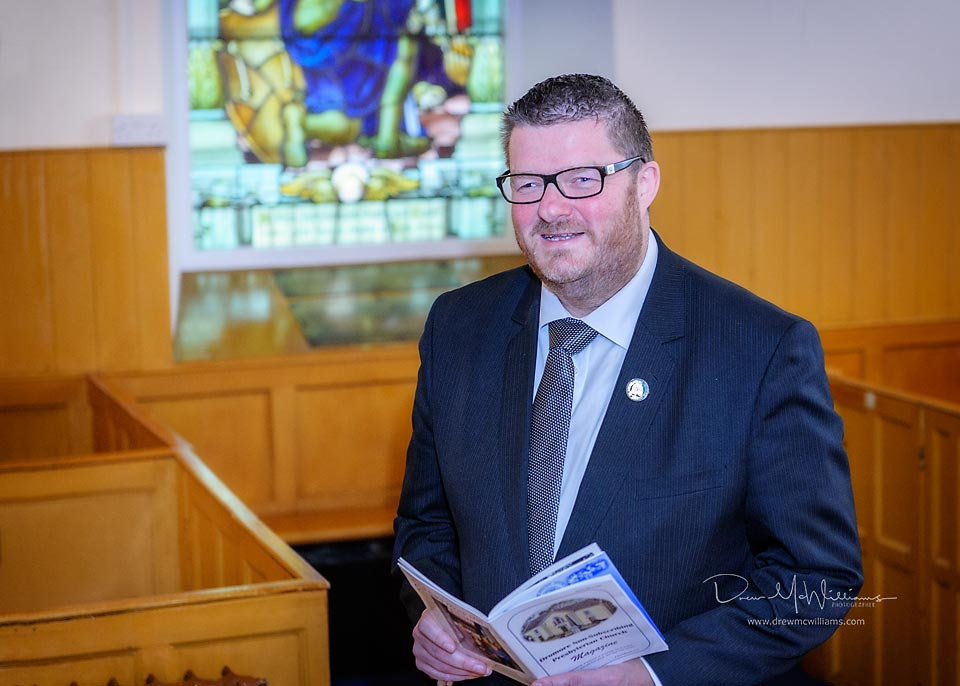 Alister Bell photographed after preaching at Dromore Non-Subscribing Presbyterian Church